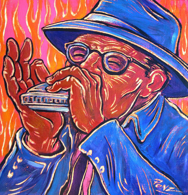 Blues Art Print featuring the painting Hot Harp by Robert Ponzio