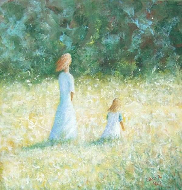 Mother And Child. Woods.fields. Sunlit Landscape. Art Print featuring the print Country Walk by Carl Lucia