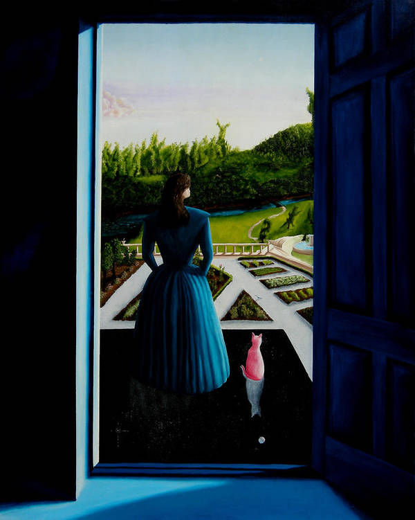 Oil Painting.blue Lady. Garden. Surreal Impressionism Art Print featuring the painting Blue Lady Thru The Door by Ivan Rijhoff