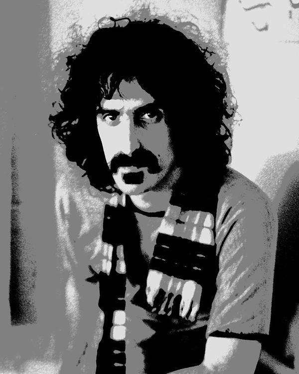 Frank Zappa Art Print featuring the digital art Frank Zappa - Chalk And Charcoal 2 by Joann Vitali