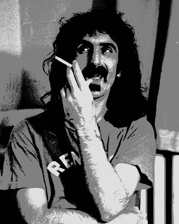Frank Zappa Art Print featuring the digital art Frank Zappa - Chalk And Charcoal by Joann Vitali