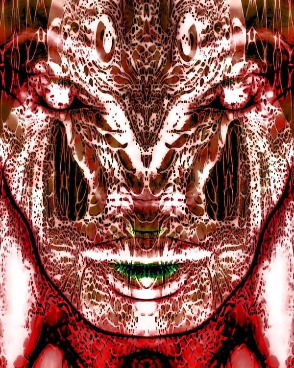 Abstract Woman Art Print featuring the digital art Goddess Serpentine by Devalyn Marshall