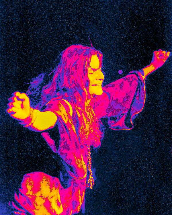 Musician Art Print featuring the digital art Janis Joplin Psychedelic Fresno 2 by Joann Vitali