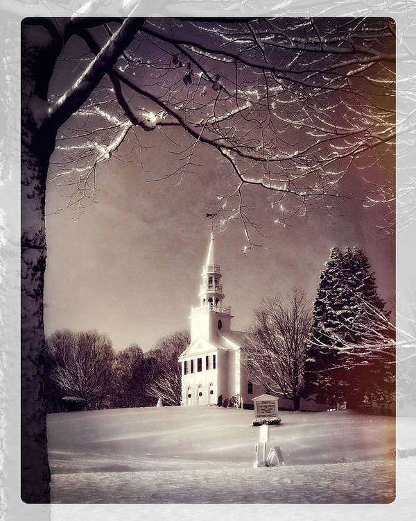 Snow Art Print featuring the photograph New England Winter Village Scene by Thomas Schoeller