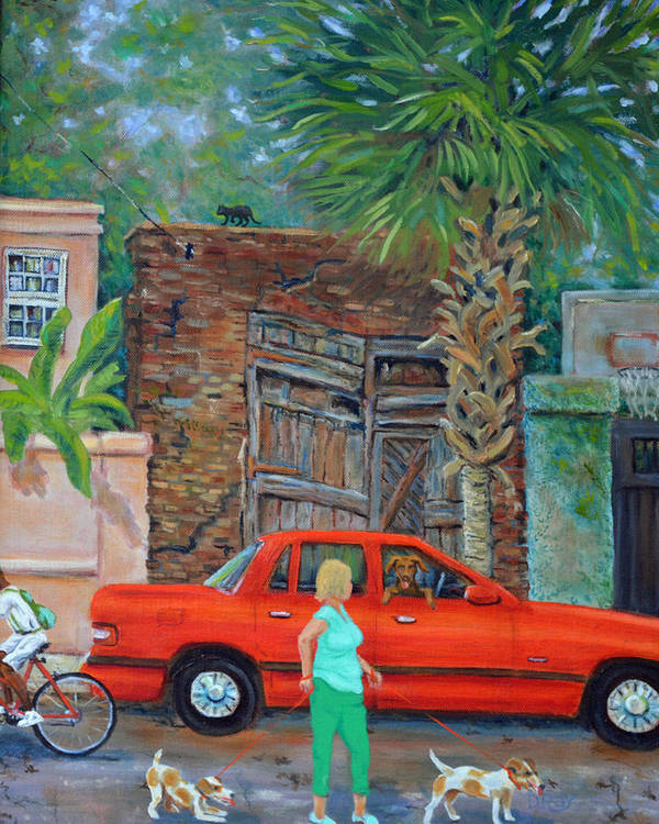 Charleston Art Print featuring the painting Society Street Afternoon by Dwain Ray