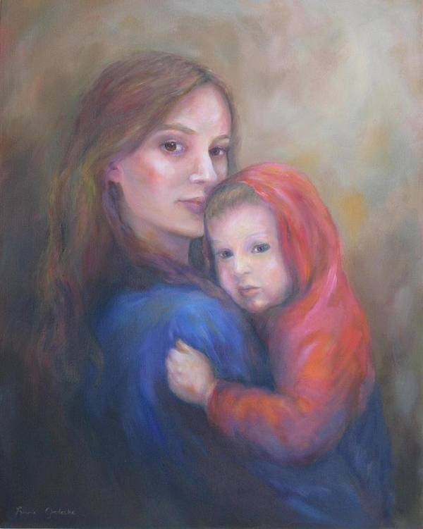 Portrait Print featuring the painting A Moment In Time by Bonnie Goedecke