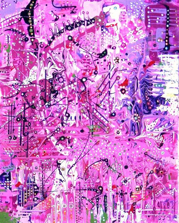 Abstract-expressionism Art Print featuring the painting Girly-girls Rule by Charlotte Nunn