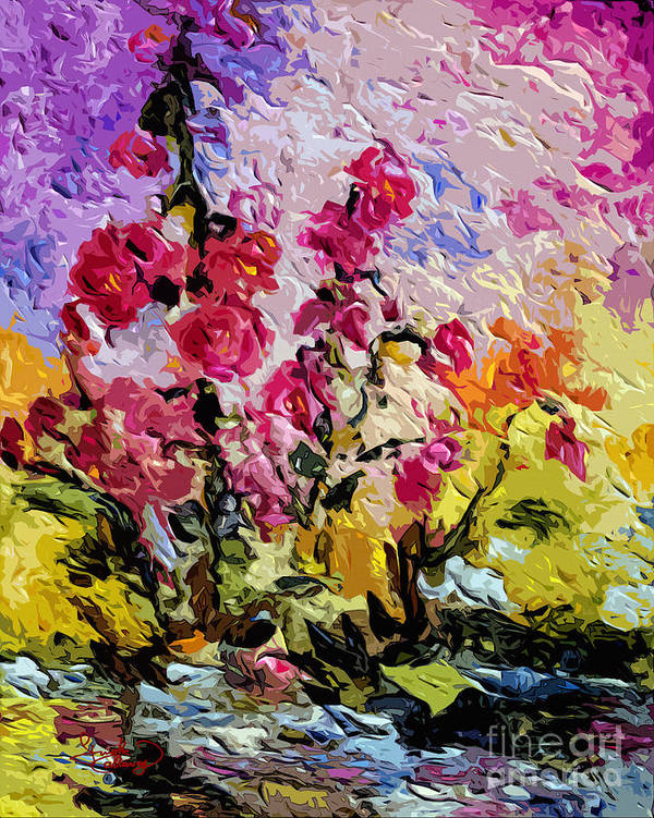 Flowers Art Print featuring the painting Pink Lavatera by Ginette Callaway