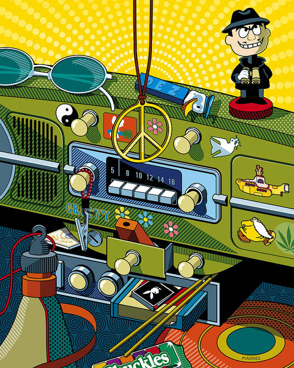 Sixties Print featuring the digital art Road Trip '69 by Ron Magnes
