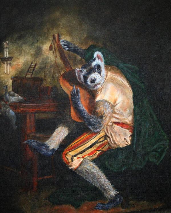 Ferret Art Print featuring the painting Farret Guitarist by Karen Peterson