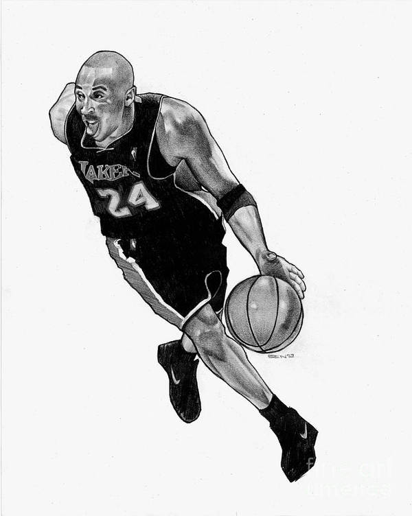 Lakers Art Print featuring the drawing Kobe by Ben Henderson