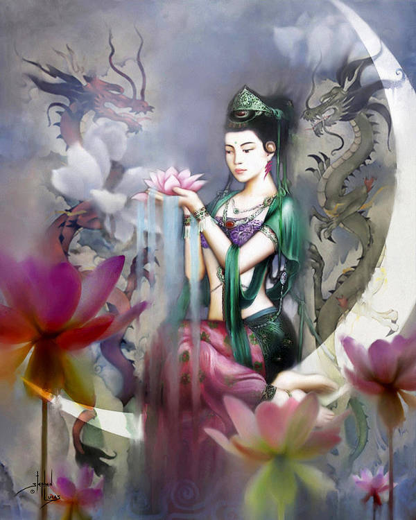 Spiritual Art Print featuring the digital art Kuan Yin Lotus Of Healing by Stephen Lucas
