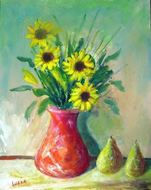 Ceramic. Pottery. Vases. Flowers. Art Print featuring the print Pottery Vase And Flowers by Carl Lucia