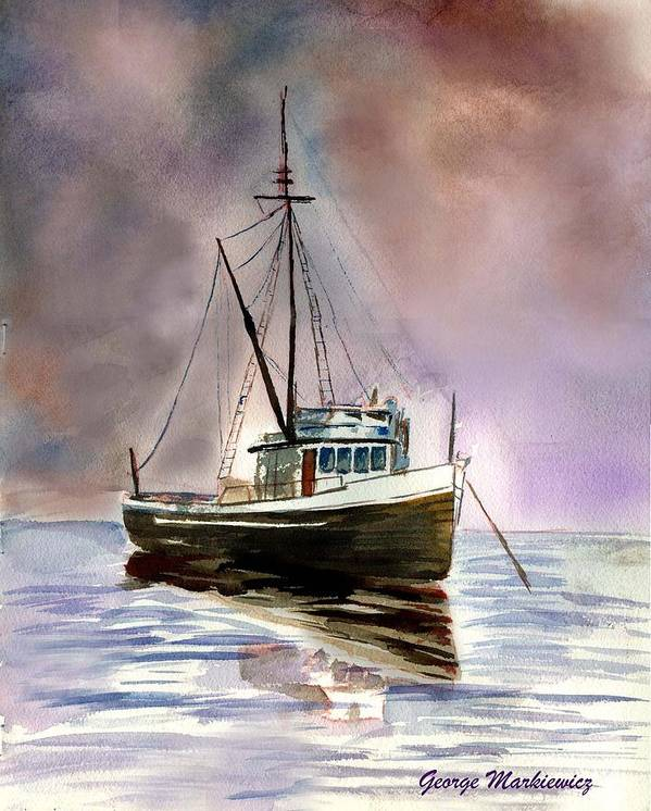 Ocean Boat Art Print featuring the print Ship Stormy Weather by George Markiewicz