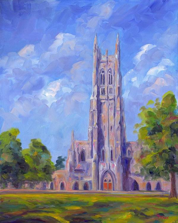 Duke Chapel Art Print featuring the painting The Chapel At Duke University by Jeff Pittman