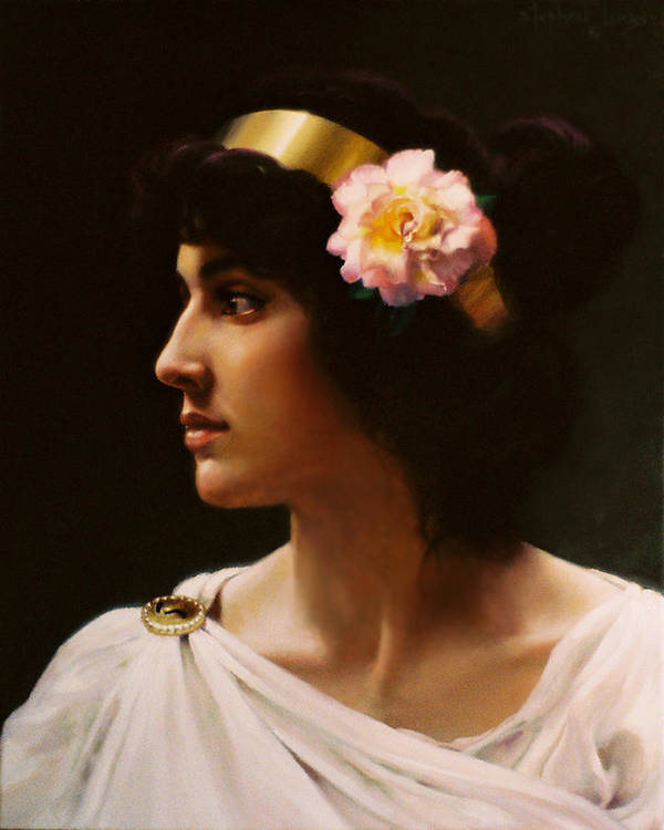 Goddess Art Print featuring the painting Venus Of The Pink Rose   My Version Inspired By A Work Of Bouguereau by Stephen Lucas