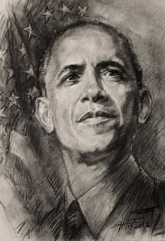 Barack Obama Print featuring the drawing Commander-in-chief by Ylli Haruni