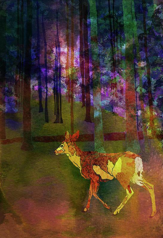 Deer Art Print featuring the digital art Back To The Forest by Jo-Anne Gazo-McKim