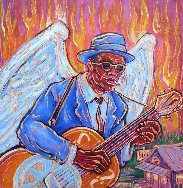 blues Art By Ponz Art Print featuring the painting Angel Of The Blues by Robert Ponzio