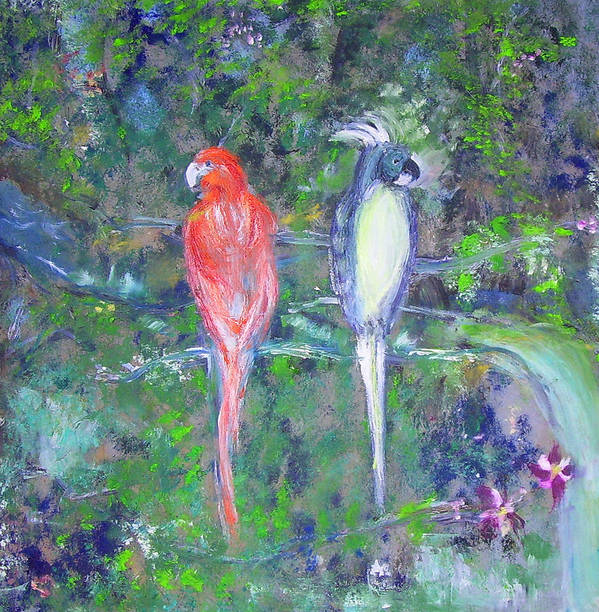 Wildlife Art Print featuring the painting Brazilian Parrots by Michela Akers