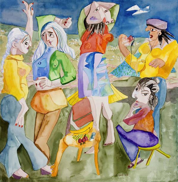 Girls Print featuring the painting Les Demoiselles Of Santa Cruz V3 by Susan Cafarelli Burke