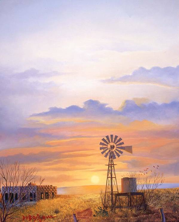 Windmill Art Print featuring the painting West Texas Sundown by Howard Dubois