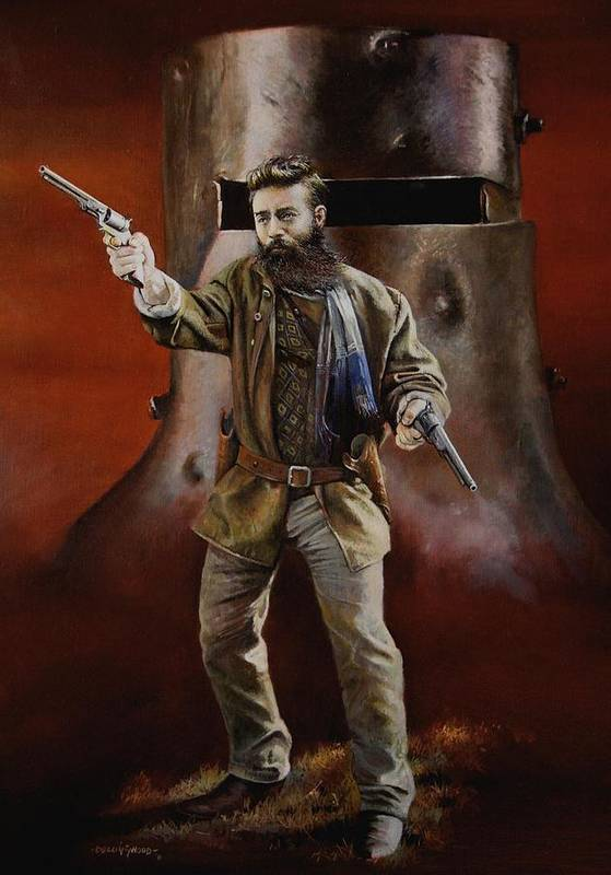 Ned Kelly Print featuring the painting Ned Kelly by Chris Collingwood