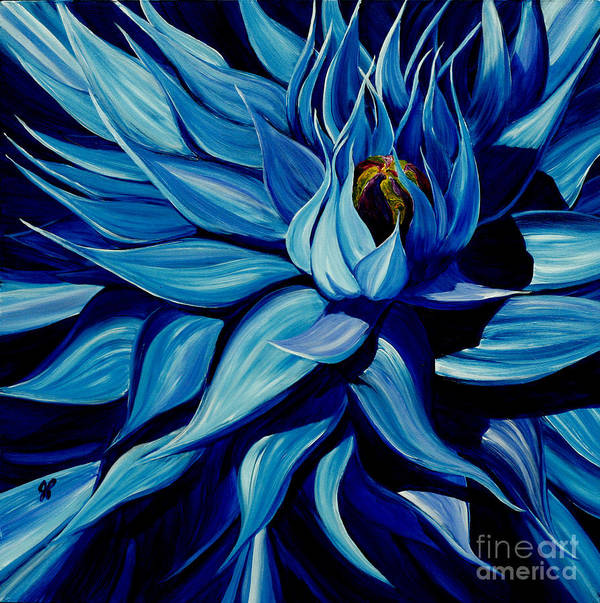Macro Flower Art Print featuring the painting Blue Clematis by Julie Pflanzer