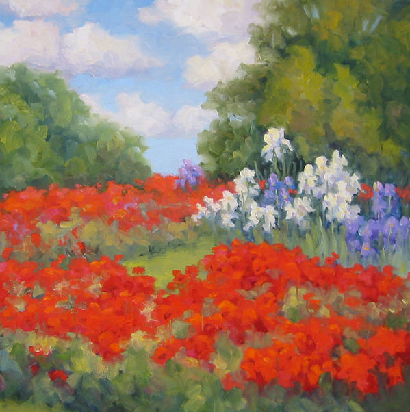 Poppies Art Print featuring the painting Festival Of Poppies by Bunny Oliver