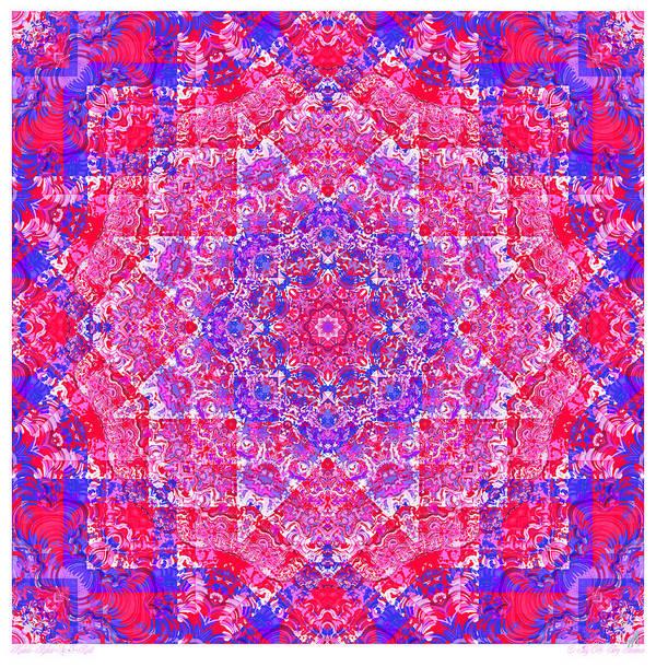 Kaleidoscope Art Print featuring the digital art kaleido-Rubiat-3D Sq 53d Kwilt by Terry Anderson