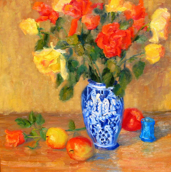 Rose Art Print featuring the painting Roses In A Mexican Vase by Bunny Oliver