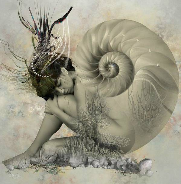 Nautilus Sea Shell Art Print featuring the digital art Shell Of Life by Ali Oppy