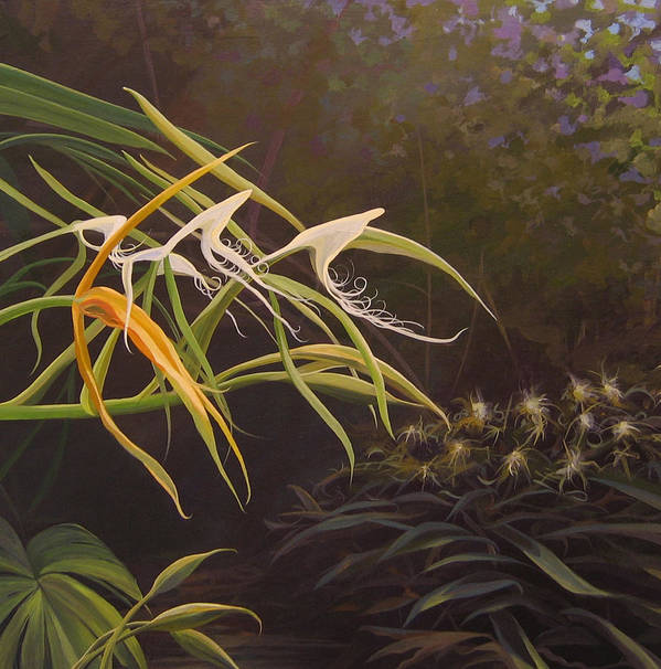 Caribbean Art Print featuring the painting Wild Orchids by Hunter Jay