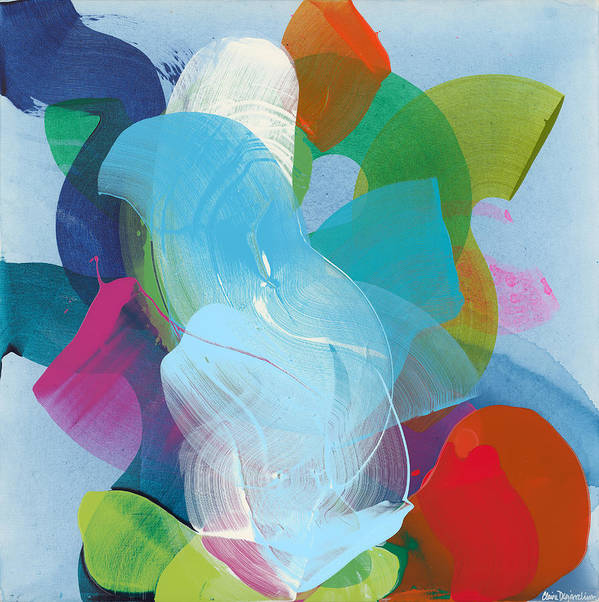 Abstract Art Print featuring the painting Away A While by Claire Desjardins