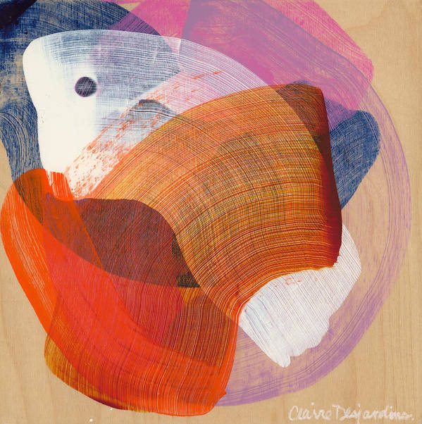 Abstract Art Print featuring the painting Out Of The Blue 01 by Claire Desjardins