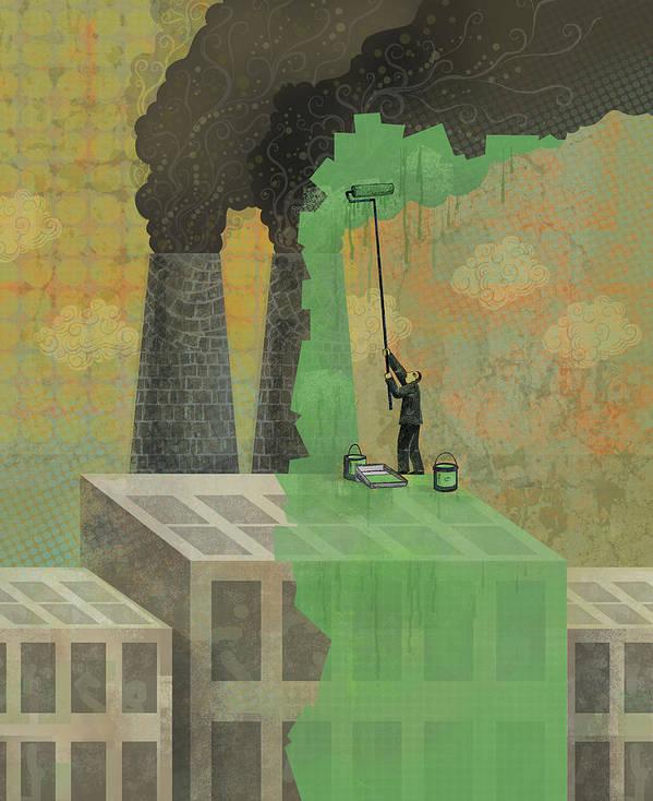 Art Print featuring the digital art Greenwashing by Dennis Wunsch