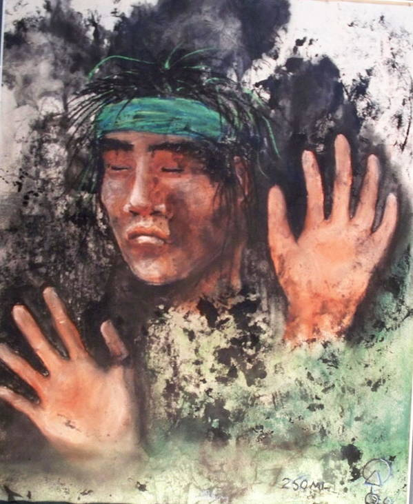 Native American Art Print featuring the painting 250ml by Ernie Scott- Dust Rising Studios