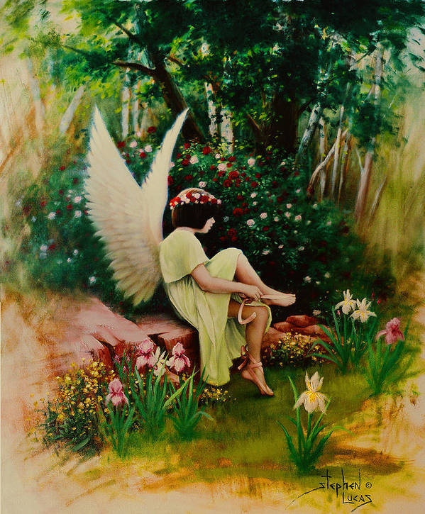 Angel Art Print featuring the painting Beltaine Angel by Stephen Lucas