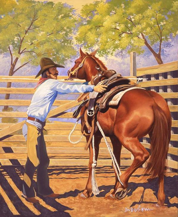 Cowboy Art Print featuring the painting First Saddling by Howard Dubois