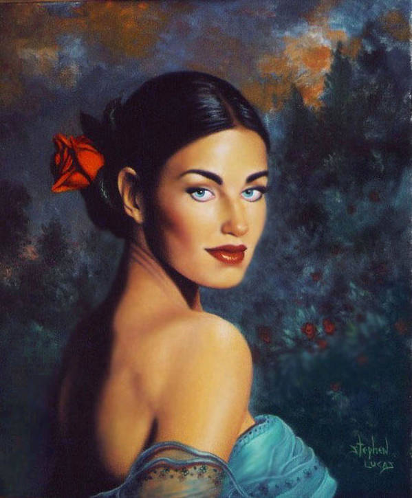 Woman Art Print featuring the painting Goddess Of The Summer Rose by Stephen Lucas