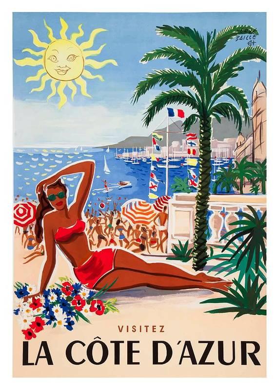 1955 France Visit La Cote D'Azur Travel Poster by Retro Graphics