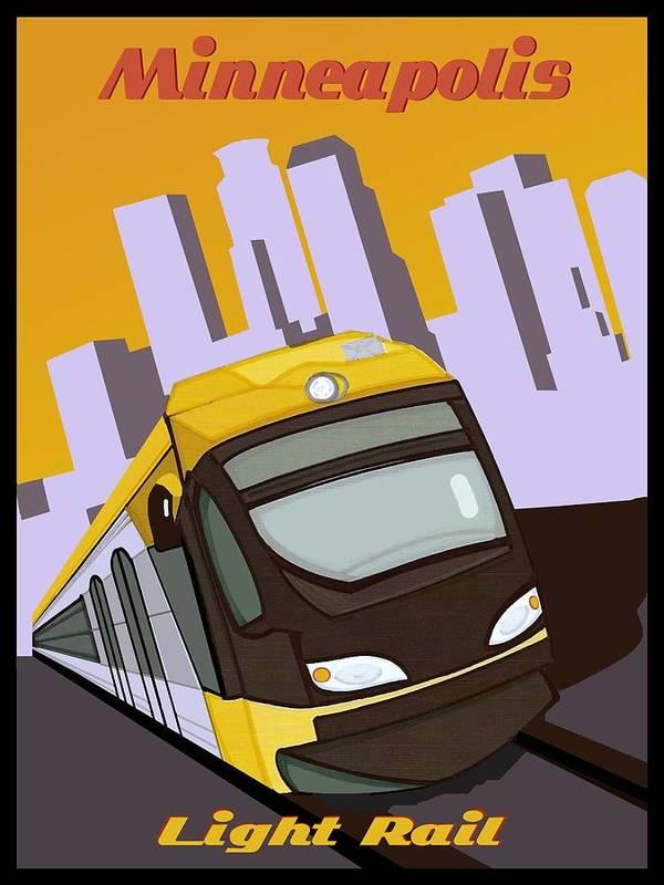 Minneapolis Light Rail Travel Poster by Jude Labuszewski