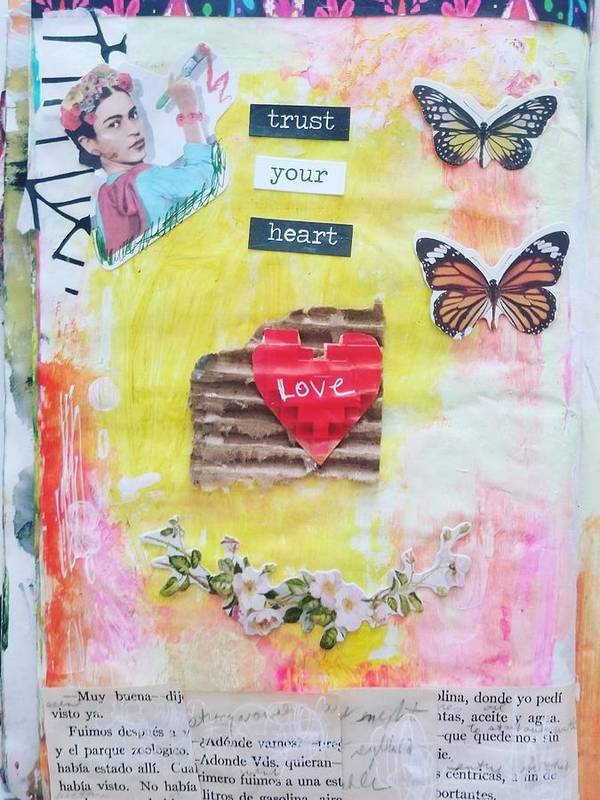 Frida Kahlo Mixed Media Acrylic Paper Collage Colorful Butterflies Art Print featuring the painting Trust Your Heart by Patricia Byron