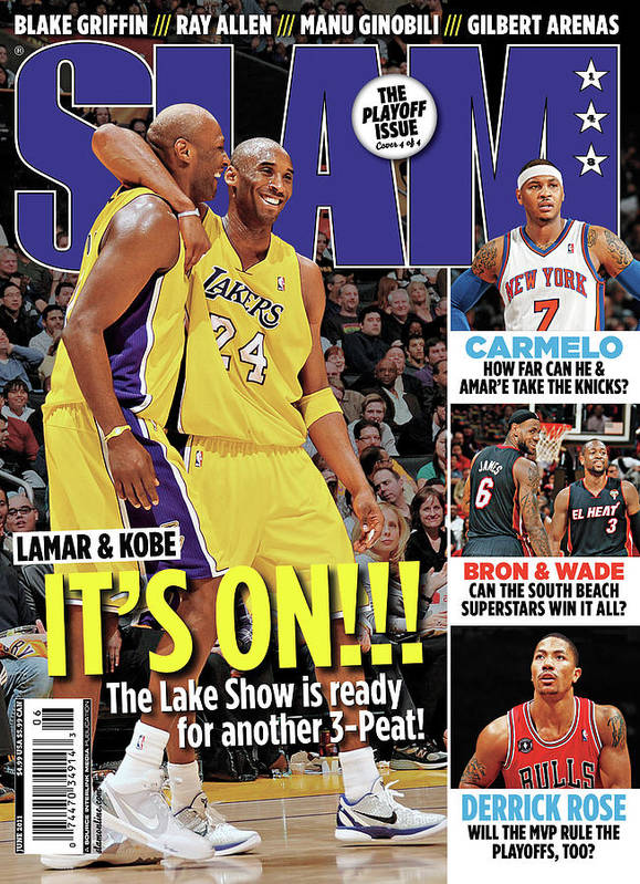 Kobe Bryant Art Print featuring the photograph Lamar & Kobe: It's On!!! SLAM Cover by Getty Images