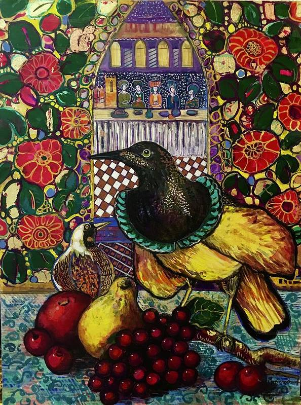 Crow Art Print featuring the painting Medieval dinner by Marilene Sawaf