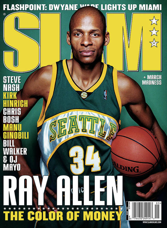 Ray Allen Art Print featuring the photograph Ray Allen: The Color of Money SLAM Cover by Clay Patrick McBride