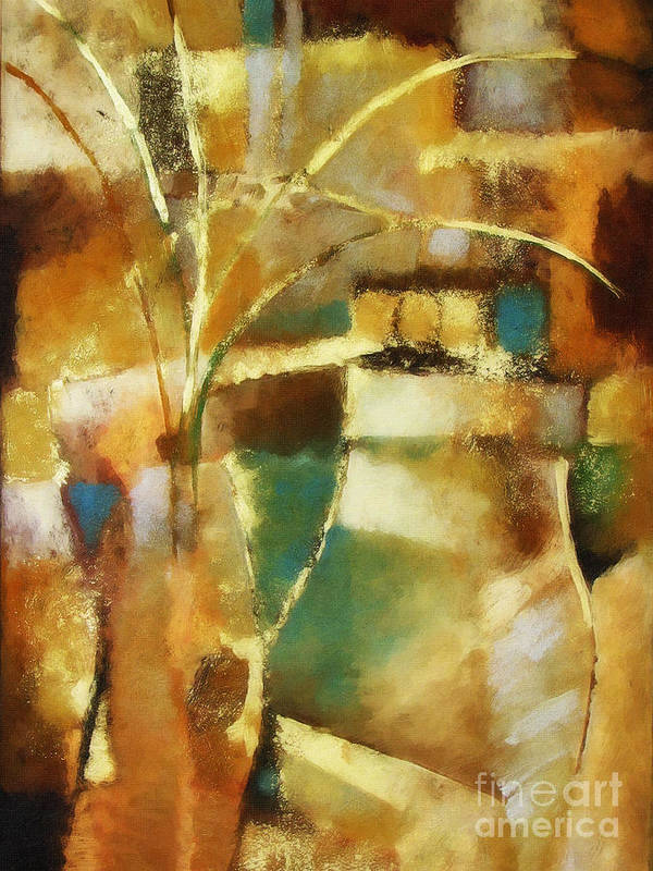 Abstract Painting Art Print featuring the painting Golden reflections by Lutz Baar