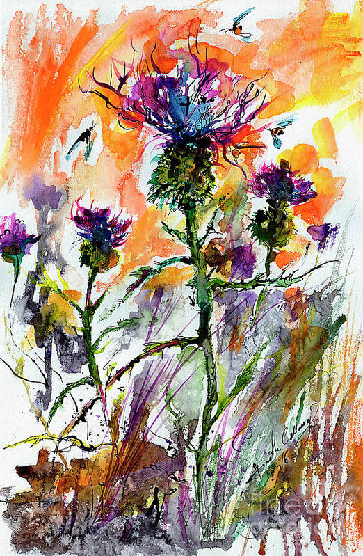 Thistles Art Print featuring the painting Thistles and Bees Watercolor and Ink by Ginette Callaway