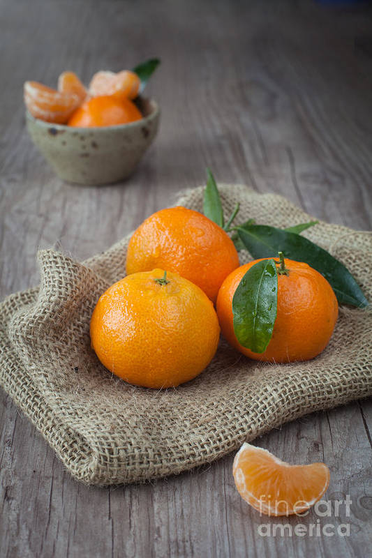 Tangerine Print featuring the photograph Fresh Tangerine by Sabino Parente