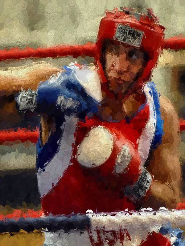 Fight Fighter Boxer Boxing Man Ring Sport Sparring Print featuring the painting The Fighter by Stefan Kuhn